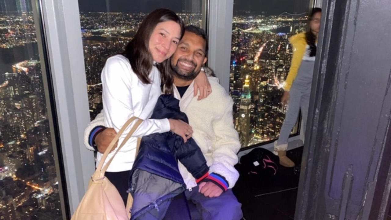 Rachael Antionie and Dr Dinesh Palipana at the top of the Empire State Building moments after they became engaged. Picture: Supplied