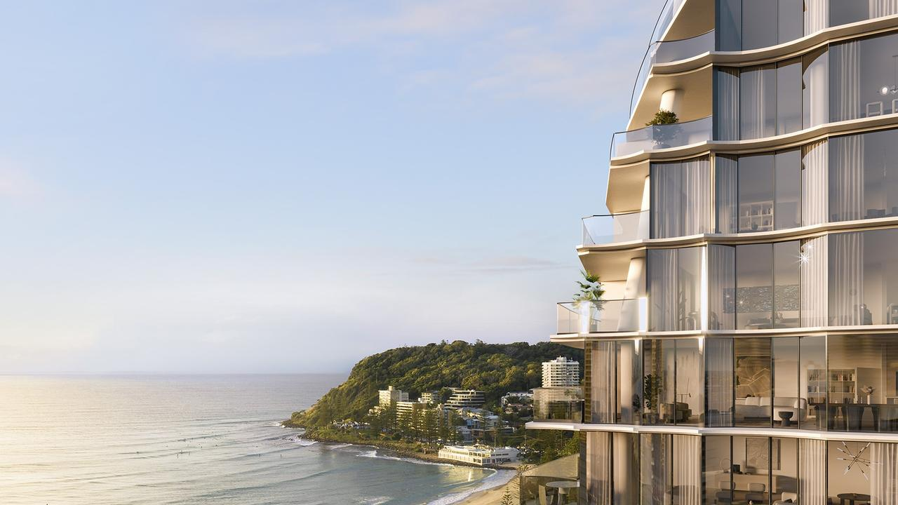 Artist impression of the Mondrian five-star hotel and residences planned for Burleigh on the Gold Coast.