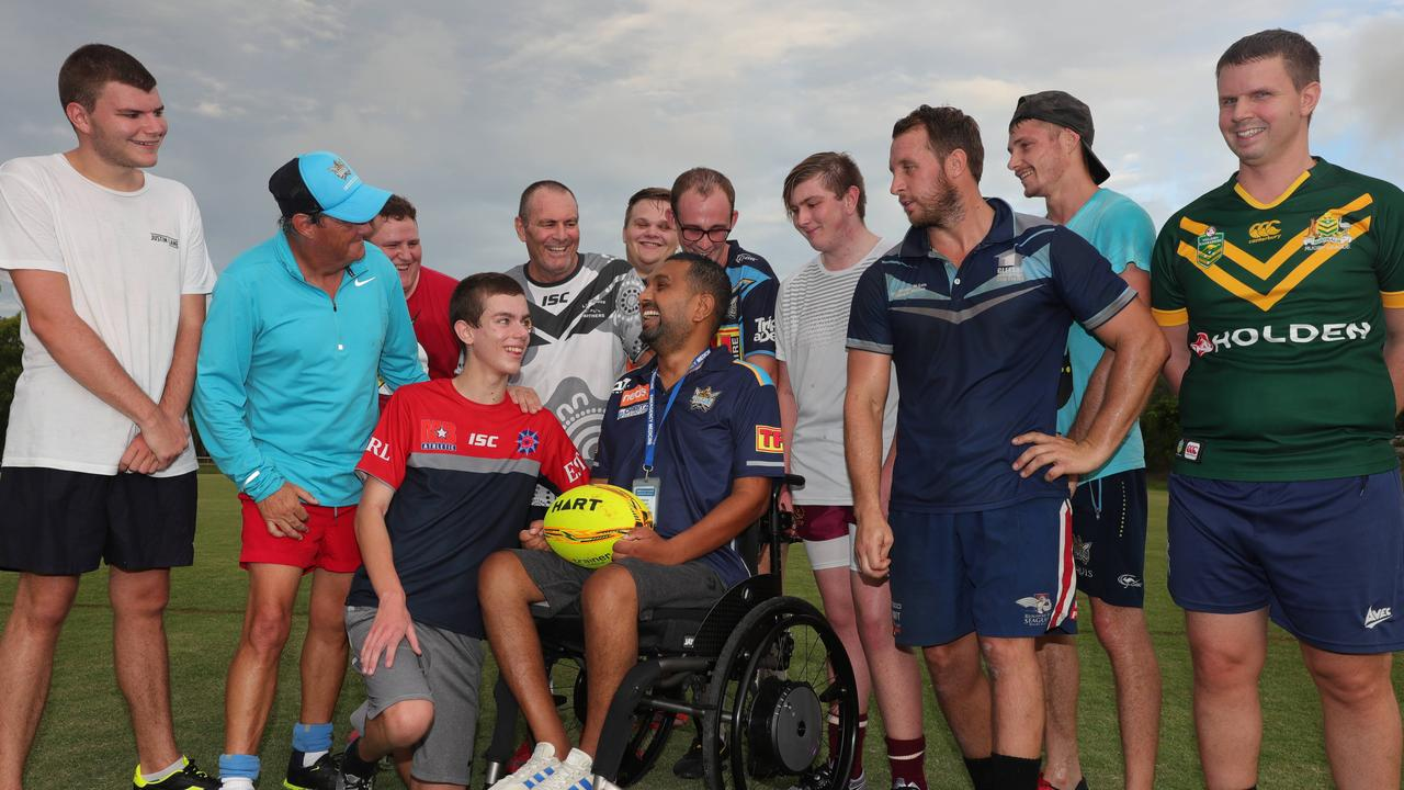 Gold Coast Titans physical disability rugby league team players with Dr Dinesh Palipana. Picture: Glenn Hampson