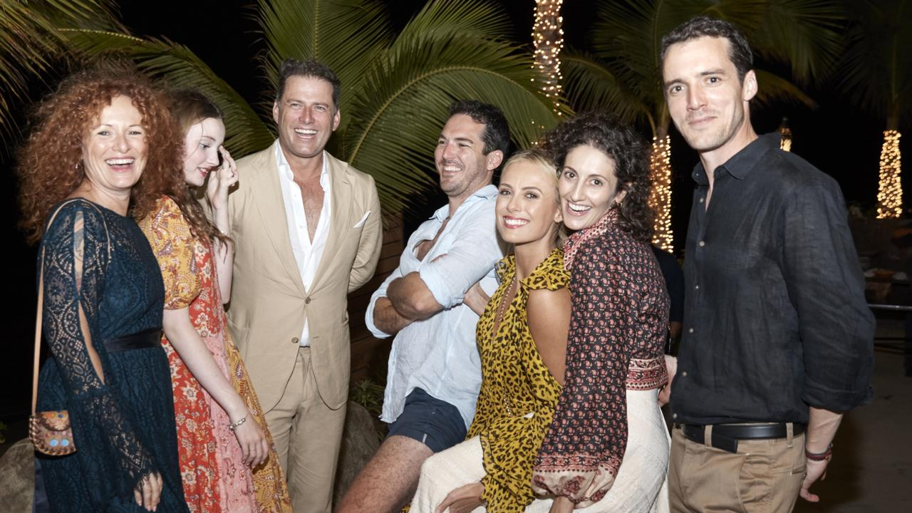 Elisa Pointon, her daughter Evee, Karl Stefanovic, Peter Stefanovic, Sylvia Jeffreys, Jenna Stefanovic and Tom Stefanovic at the One & Only Palmilla resort in Los Cabos, Mexico.