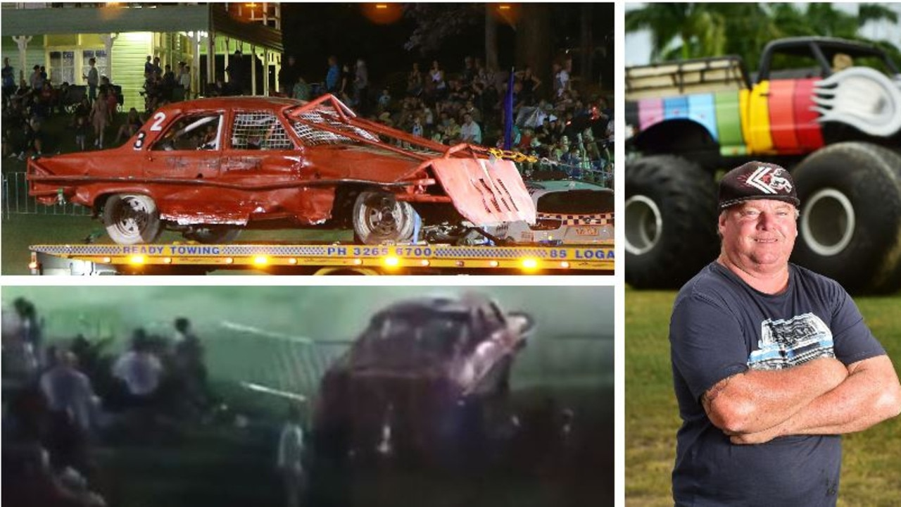 "A Queensland monster truck show operator has been fined over a terrifying incident in which a stunt car lost control and careened into a barrier which landed on spectators, including a young girl, in Brisbane. He said he would ""cop it on the chin"", despite insisting others were to blame."