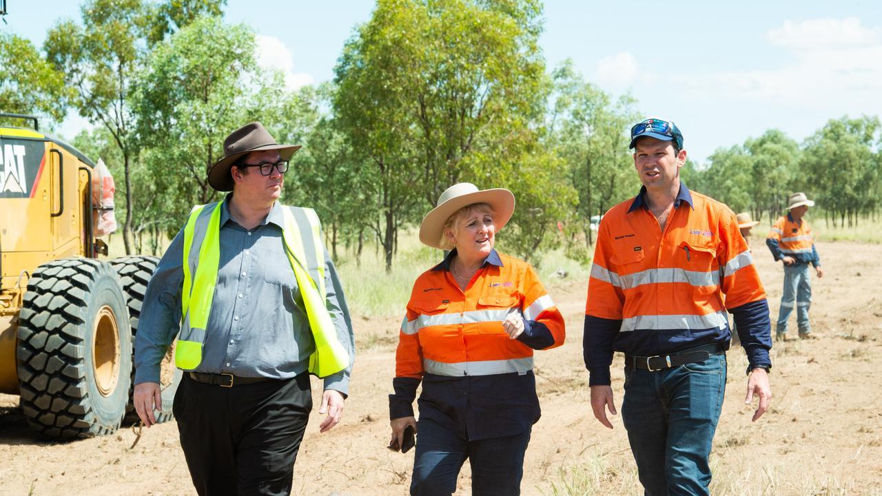 COAL SUPPORTERS: Queensland Senator Matt Canavan, Capricornia MP Michelle Landry and Dawson MP George Christensen visiting the Adani Carmichael mine site.