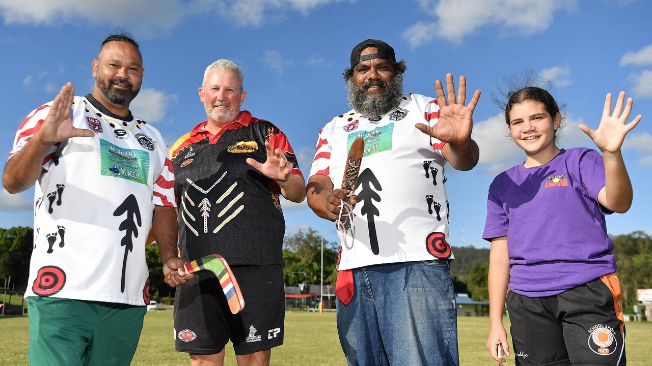 Gavin Hazel, Brad Beetson, Robert Peters and Moondara Mason are excited about Sunshine Coast Bunyas hosting Indigenous rugby league trial games in Nambour on Saturday. Picture: Patrick Woods.