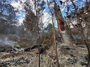 AFTERMATH: Last crews leave blackened bushland at Wooroolin