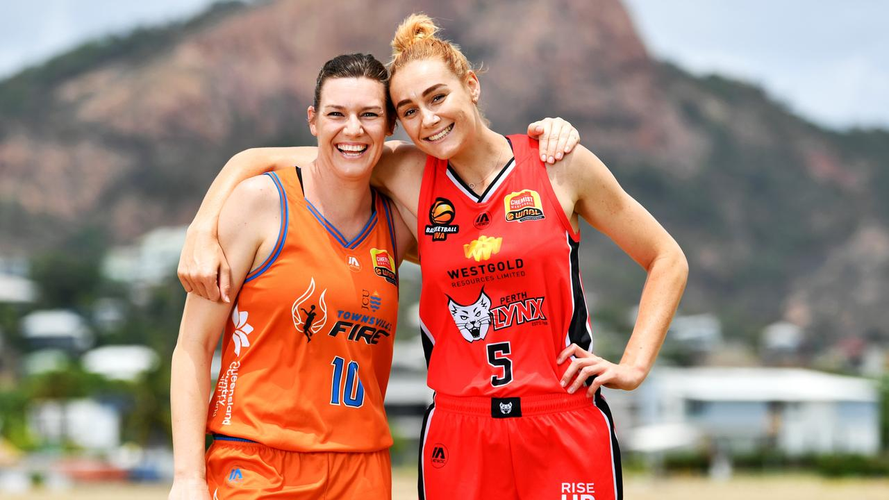 WNBL; Women's National Basketball League 2020 Season Launch in Townsville. Townsville Fire Mia Murray and Perth Lynx Darcee Garbin, former teammates ahead of their first round clash in Mackay . Picture: Alix Sweeney