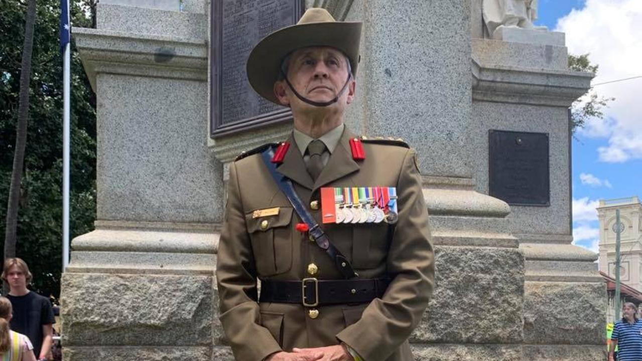 REMEMBRANCE DAY 2020: Australian Army Brigadier Bill Date at the Maryborough Cenotaph during Remembrance Day commemorations. Photo: Stuart Fast