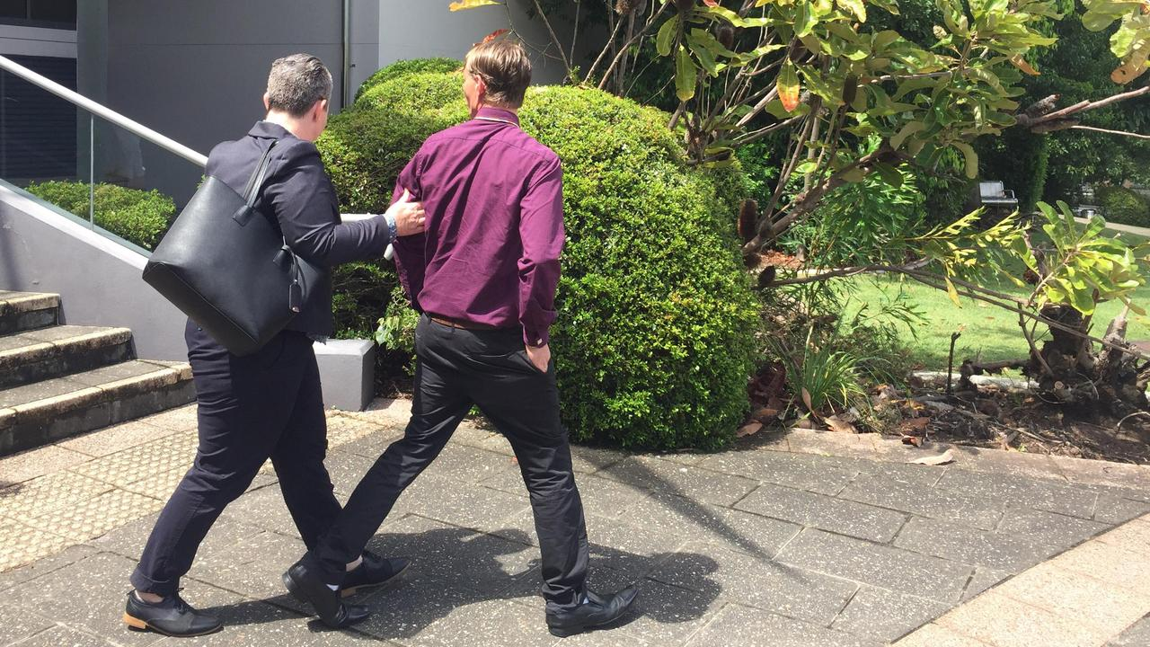Leighton James Sherwood leaving Caloundra Magistrates Court with solicitor Rowena Ferrall (left). Picture: Laura Pettigrew