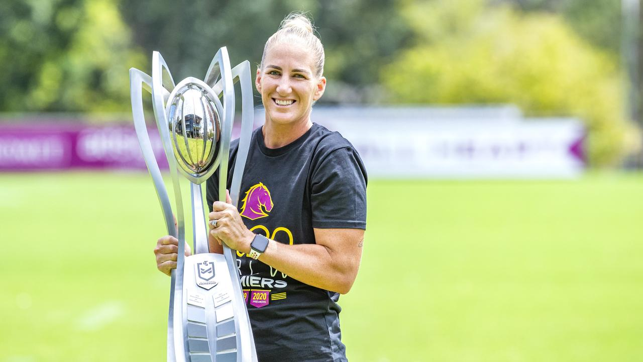 Superstar Ali Brigginshaw with the NRLW Premiership Trophy at Red Hill, Monday, October 26, 2020. Could an NRLW side be headed to the Coast? Picture: Richard Walker