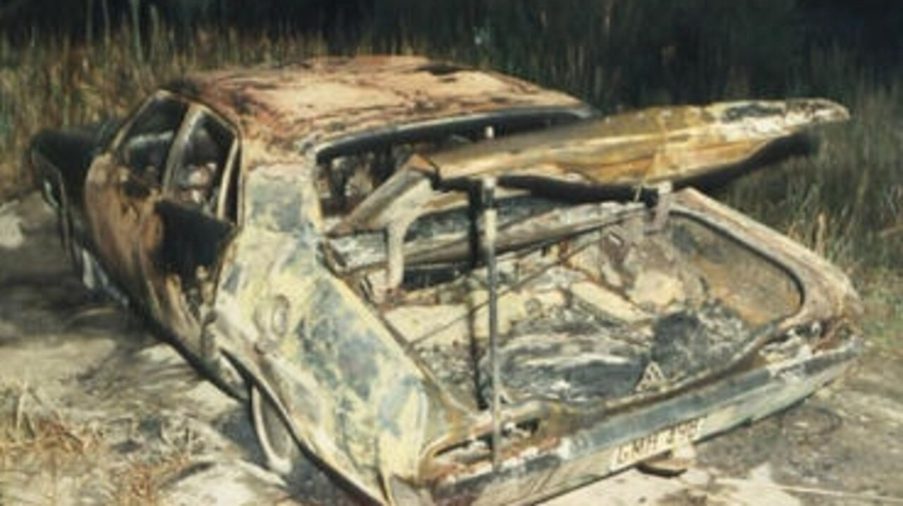 The burnt out Ford Falcon that George Brown was found inside at Bulli Tops on April 2, 1984.