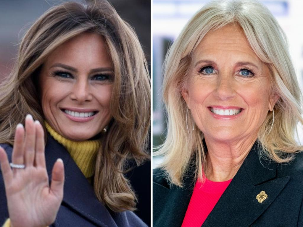 Melania Trump and Dr Jill Biden. Pictures: AFP