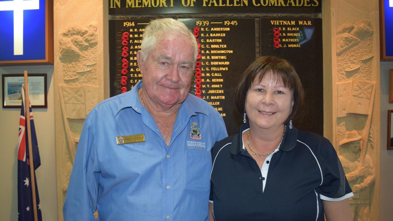 Bowen RSL sub-branch president John Eyles with wife Cheri Eyles at the Remembrance Day service at Bowen RSL. Photo: Elyse Wurm
