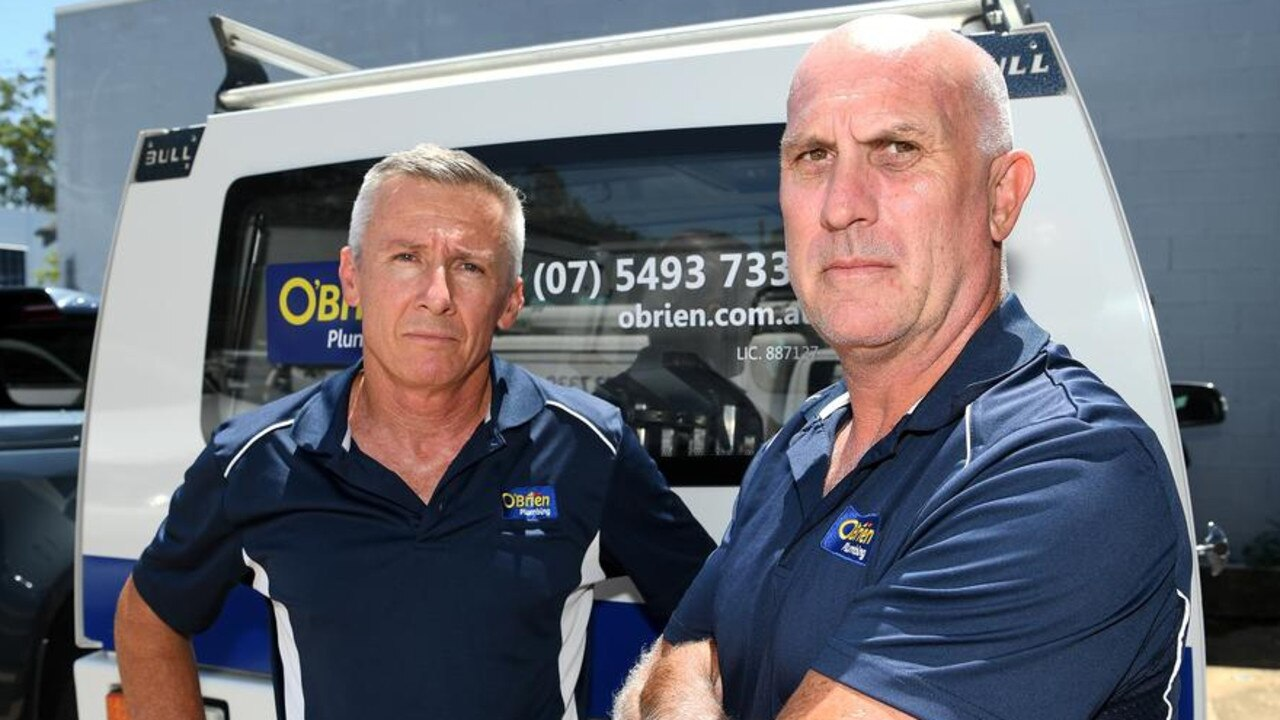 O'Brien Plumbing Maroochydore owner Peter King (left) with staff member Chris Bidmade is trying to put his latest setback behind him.