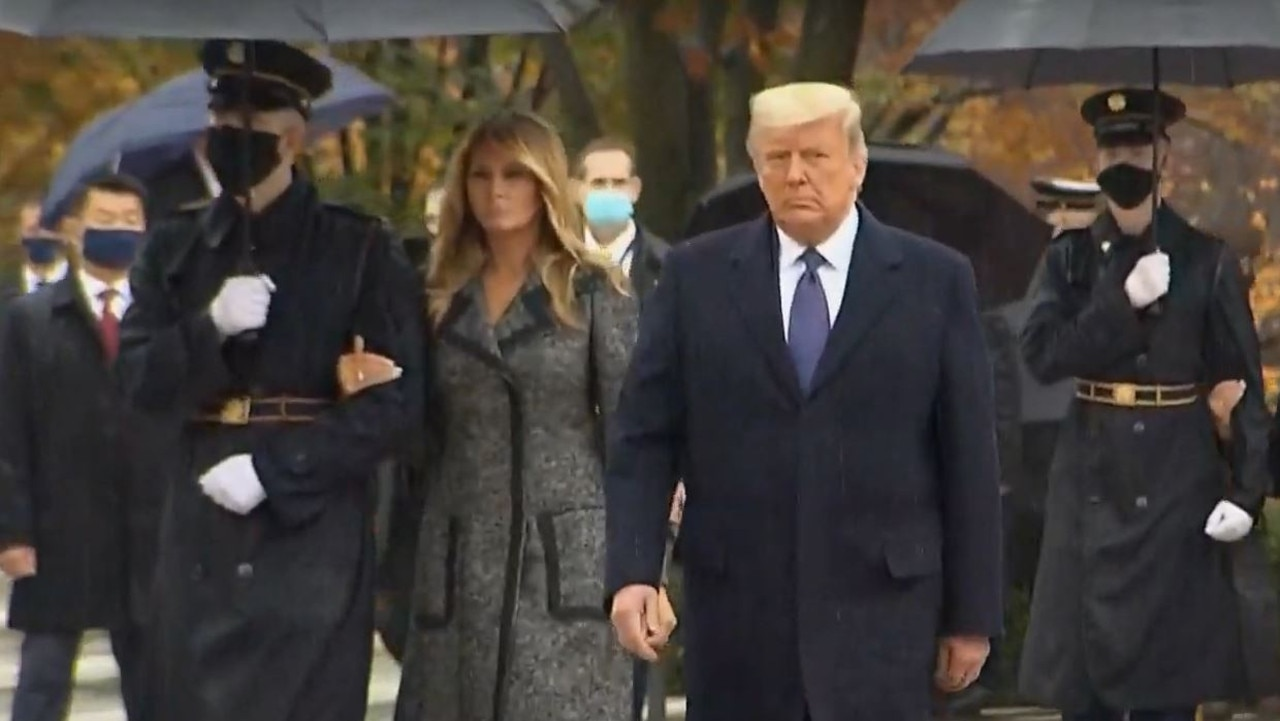 Donald and Melania Trump arriving at Arlington today. Picture: NBC News