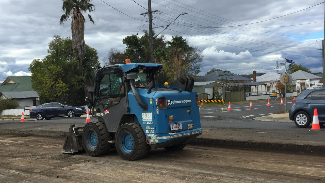 REPAIRS AHEAD: Roadworks on Albion St, Warwick as SDRC announces rain-damage reconstruction is continuing.