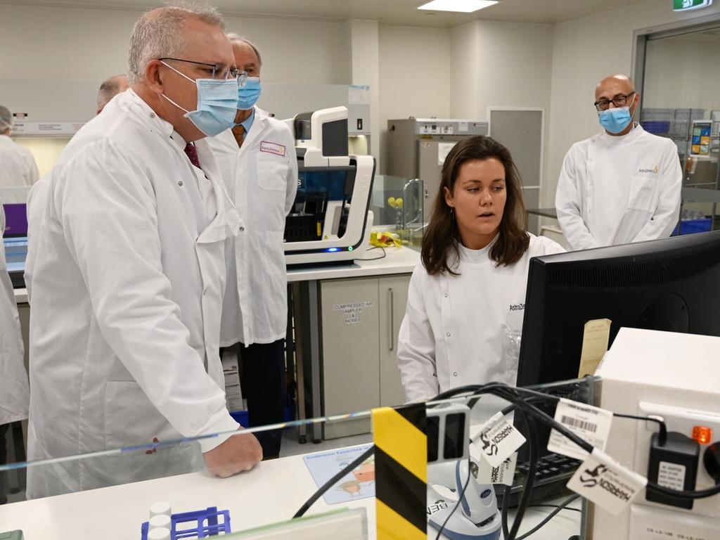 Scott Morrison toured the Astra Zeneca laboratories in August after the government signed an agreement with them to produce the Oxford University coronavirus vaccine. Picture: Nick Moir