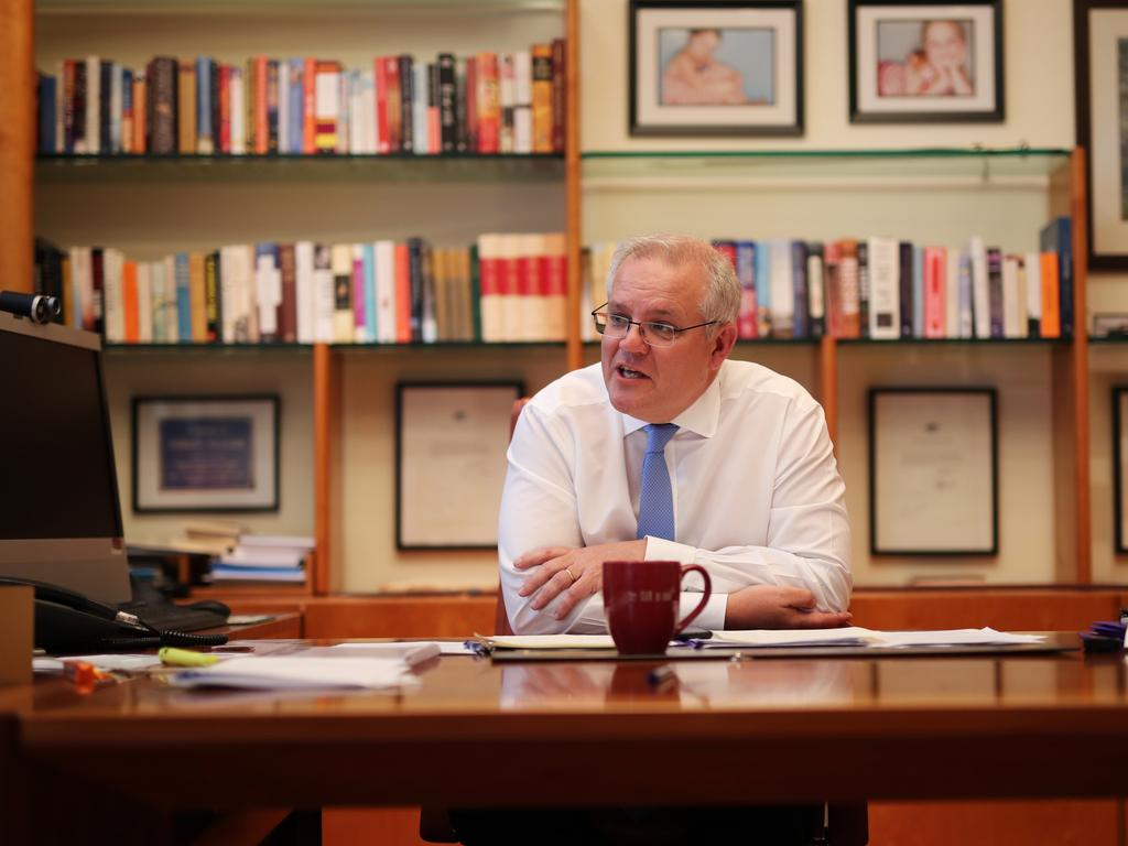 Prime Minister Scott Morrison speaking to US president-elect Joe Biden. Picture: PMO via NCA NewsWire