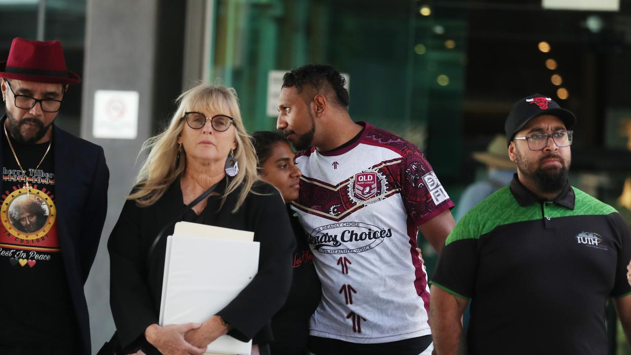 Family and supporters of Shiralee Deanne Tilberoo leave Brisbane Magistrates Court following a pre-inquest conference into her death. Picture: Annette Dew