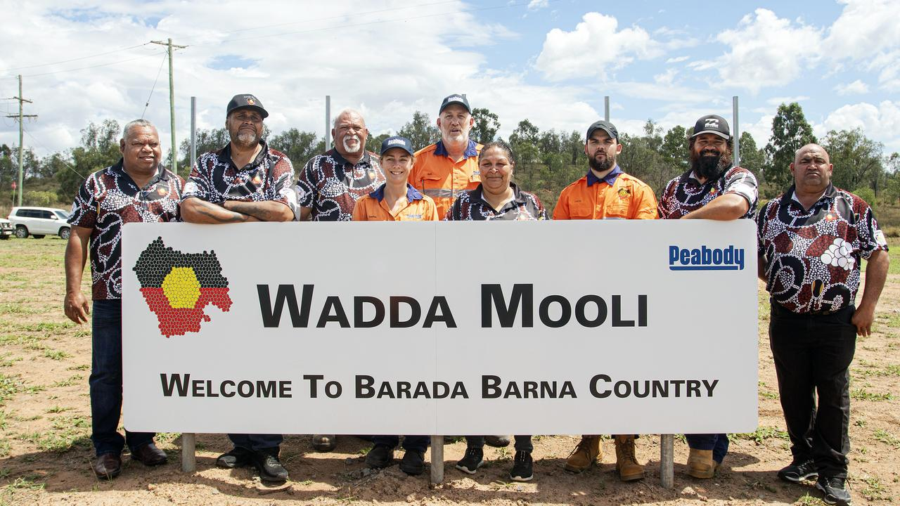 From left: Barada Barna Aboriginal Corporation vice chair and director Merv Riley, treasurer Graham Budby, director Kevin Brown, Peabody Coppabella Moorvale Joint Venture mine's senior environmental advisor Sophie Bereyne and general manager Mark Turner, and Barada Barna Aboriginal Corporation's chairwoman Luarna Walsh, secretary Jade Smith, director Nicholas Brown and director Phil Fisher. Pictu