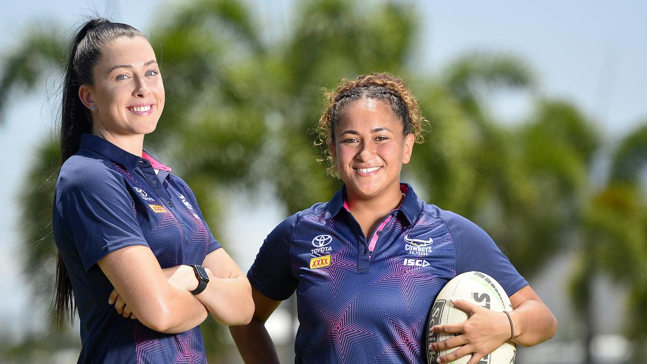 Romy Teitzel and Shaniah Power at the announcement of the North Queensland Gold Stars in the inaugural QRL women's competition. Picture: Matt Taylor