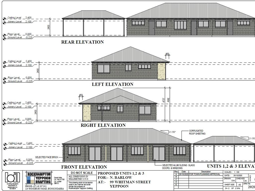 Elevations of the proposed units by Rockhampton Yeppoon Drafting.