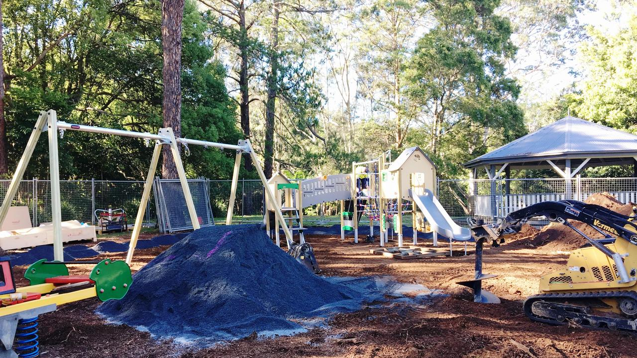 Work has begun to update the old playground at the village weir in Bangalow.
