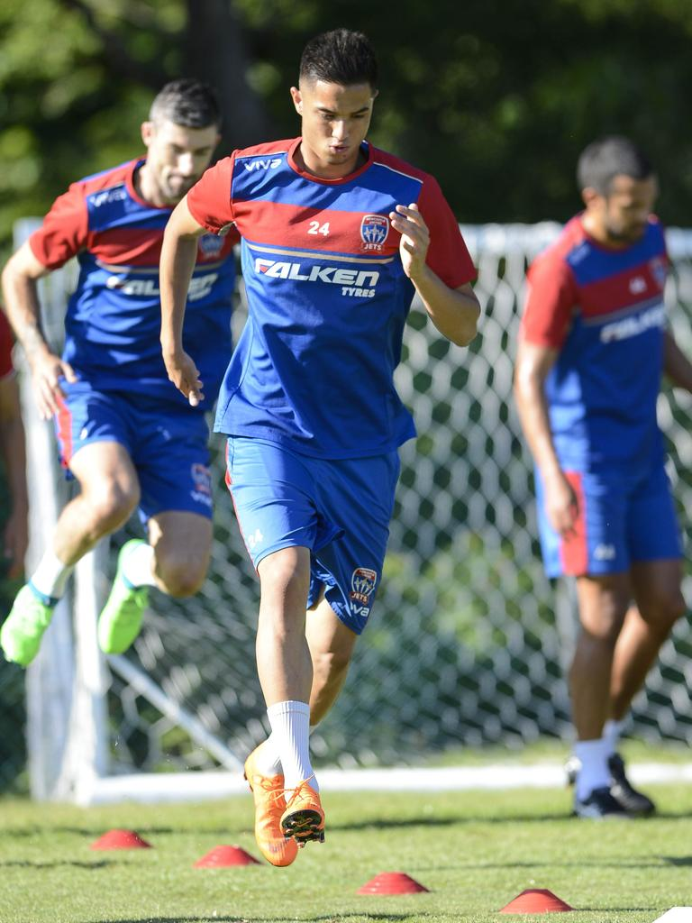 Joey Champness during training at the Newcastle Jets. Picture: Darren Leigh Roberts