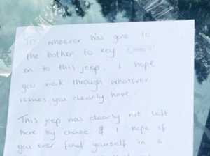 Jeep driver's furious note after vulgar act
