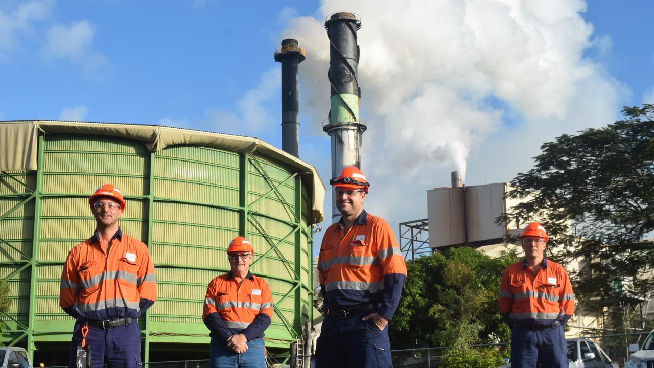Work execution manager Sebastian Foti, cane supply manager Tony Marino, production superintendent Damien Kelly and regional operations manager Craig Muddle outside Proserpine Mill on the first day of the 2020 crush. The last bin was tipped at the Proserpine Mill on Friday. Picture: Laura Thomas