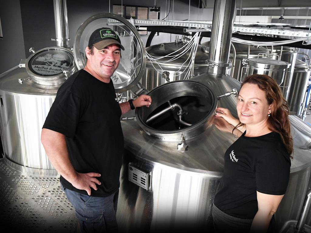 Owners Matty and Sharynne Wilson of Moffat Beach Brewing Co are in the process of opening a new brewery on Caloundra Road. Picture: Patrick Woods