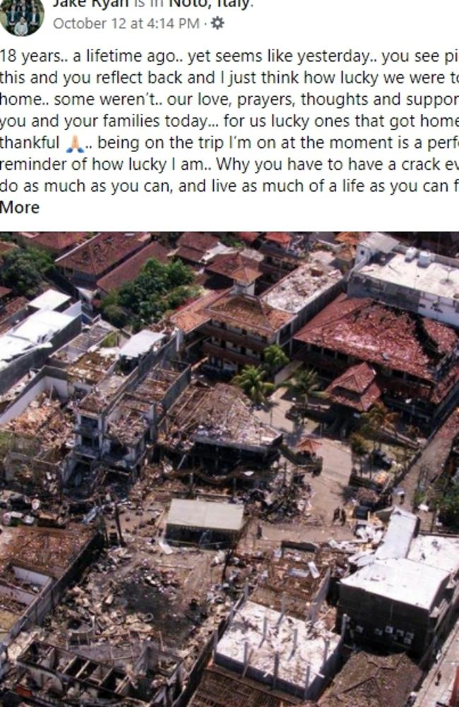 A Facebook post written just days after the anniversary of the Bali bombings by Jake Ryan.