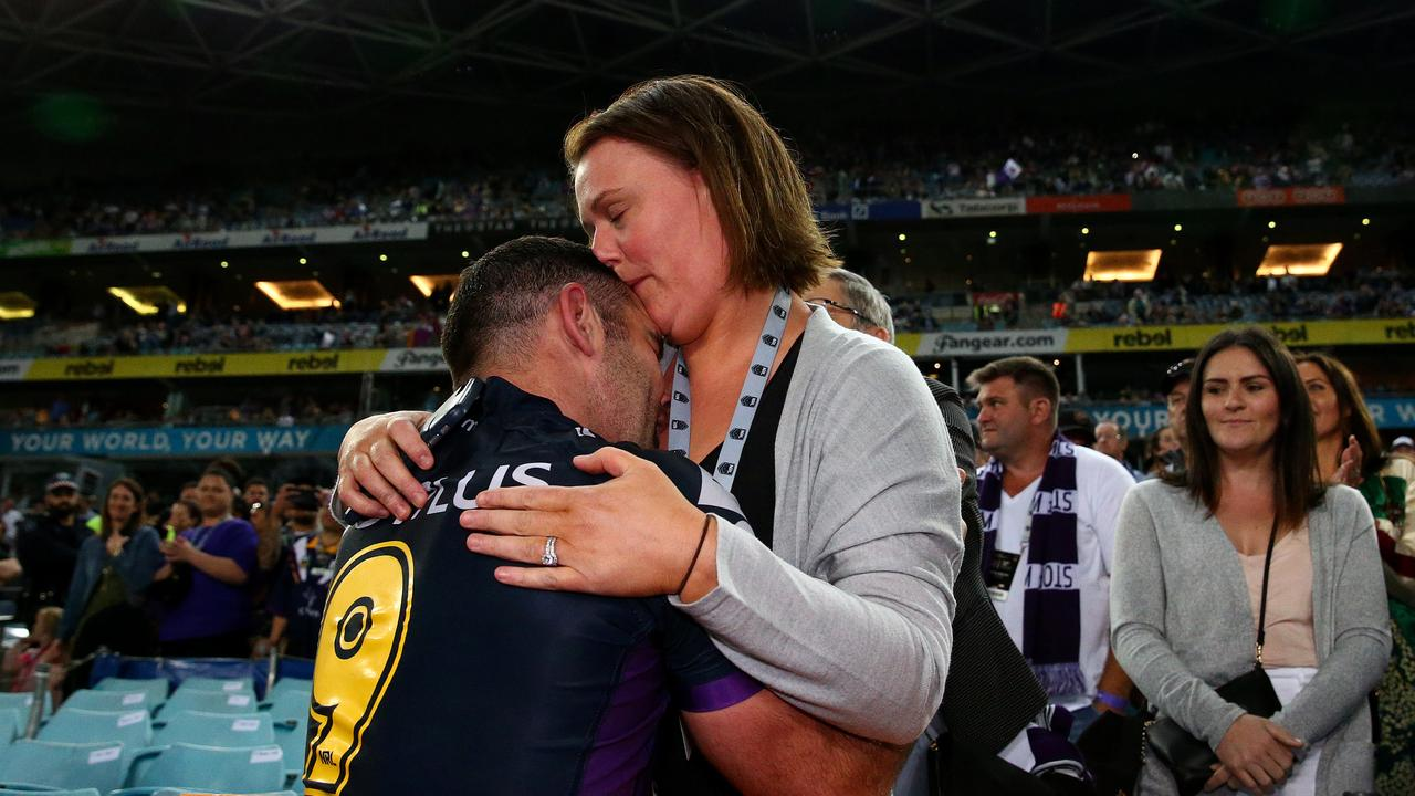 Cameron Smith celebrates with his wife Barb after winning the 2017 NRL Grand Final. Picture: Adam Head