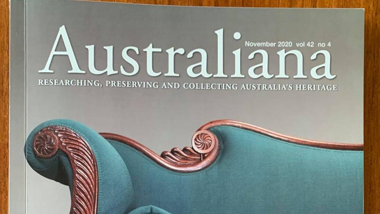 A Pre-gold rush Egyptian-style sofa belonging to a private Gympie collector who wants to stay anonymous has captured the front cover of Australiana magazine, Australiana.