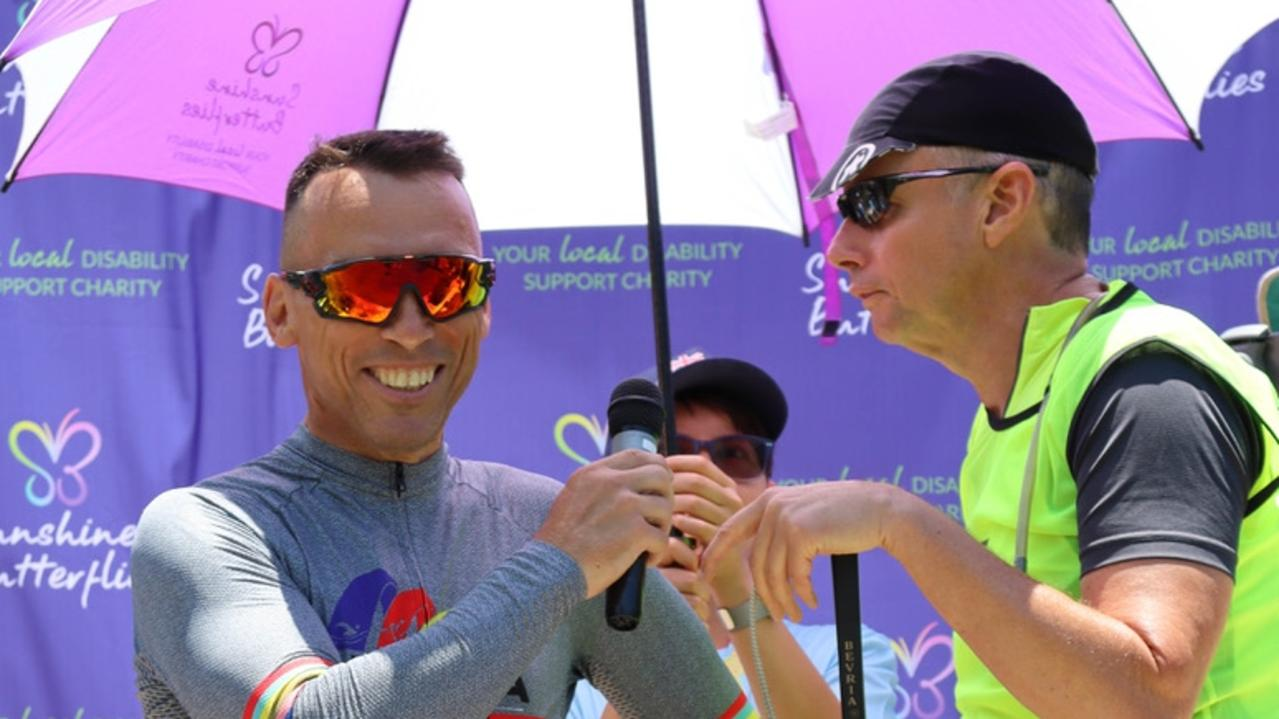 Special guests at the Sunshine Butterflies Tri is vision-impaired Cyclist Darryl Munck (right) with his riding partner Tim Rook.