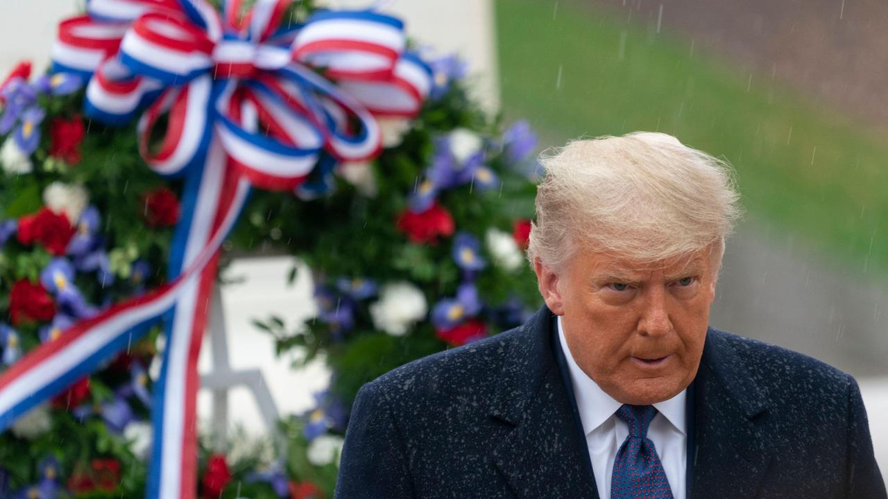 US President Donald Trump at the National Veterans Day Observance at Arlington National Cemetery in Arlington, Virginia. Picture: Chris Kleponis/Newscom/Alamy Live News