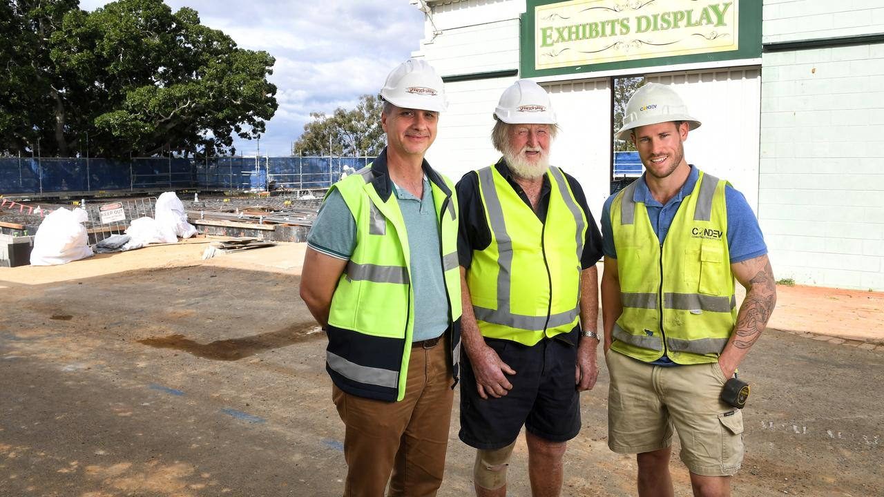 Ipswich Show project project manager Richard Ernst, Ipswich Show Society president Rusty Thomas and Condev Construction site manager Laurie Prior, in a photo taken during construction work at the showgrounds a few years ago.
