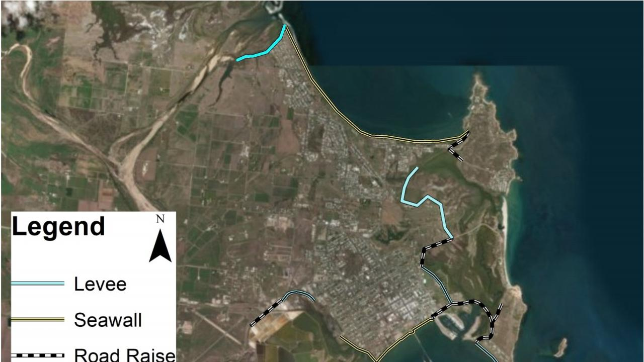 Location of sea walls, sea dykes and road raising in Bowen. Picture: Supplied