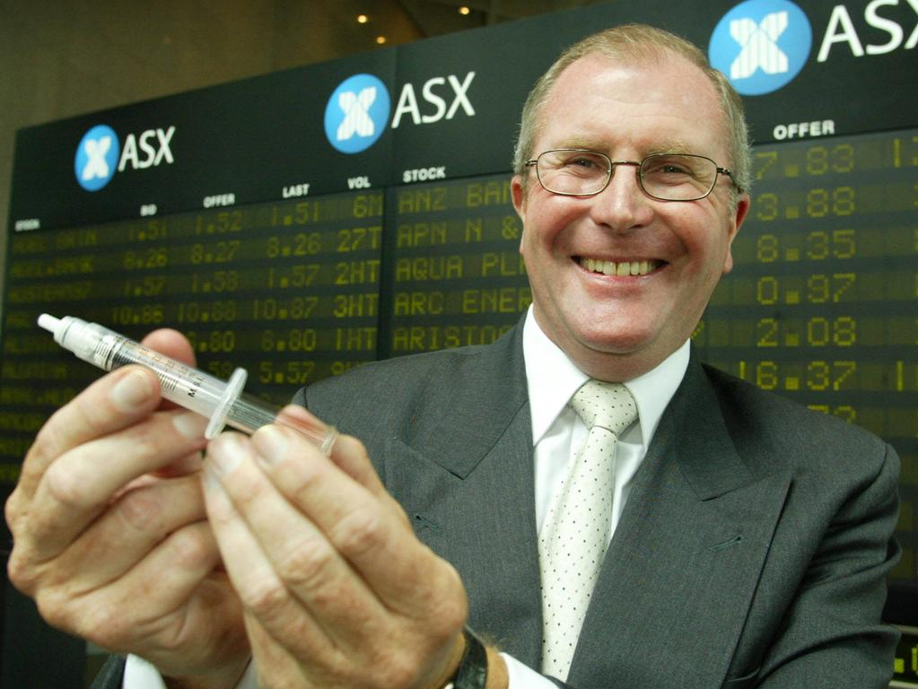 Then Medigard CEO Peter Emery with a retractable syringe at the Australian Stock Exchange after the company was listed in 2004.