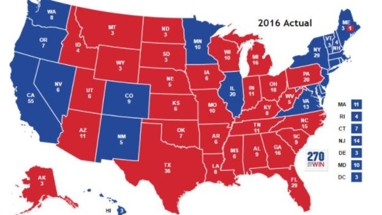 The electoral map from Donald Trump's win in 2016. Picture: 270towin.