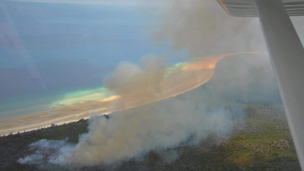 The fire burning on Fraser Island.