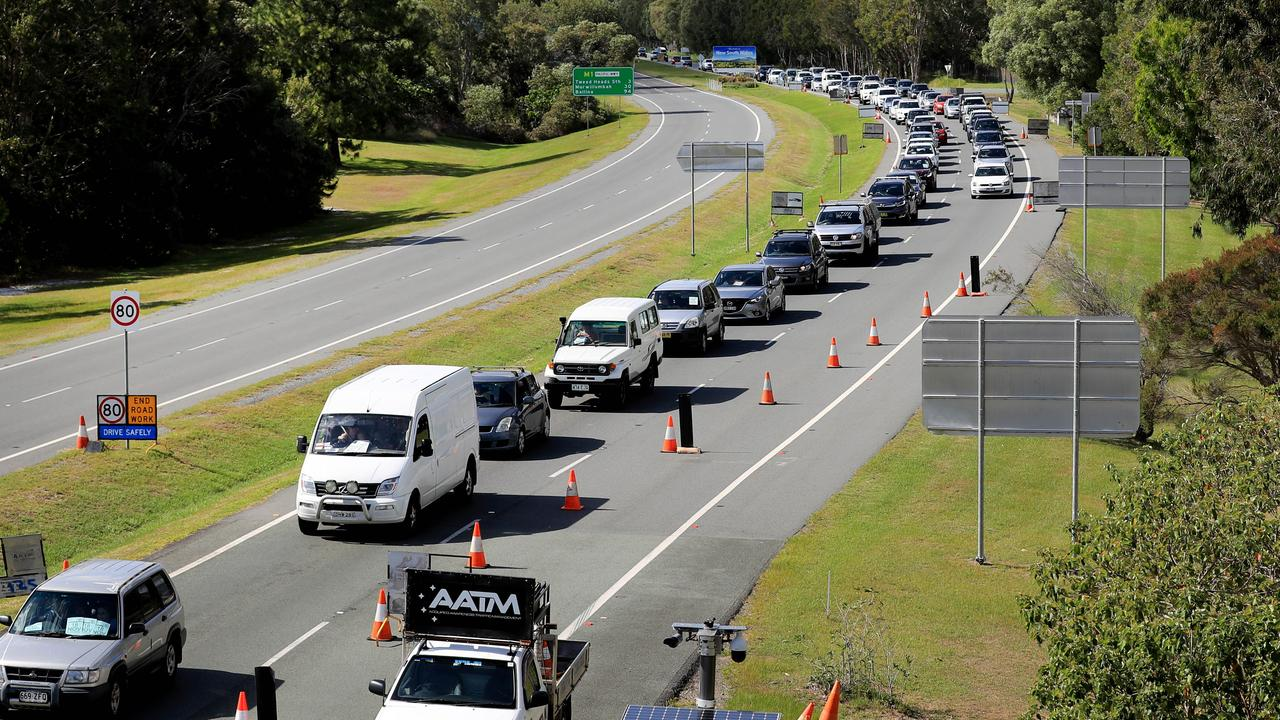 Queensland Border Crossing on the Gold Coast Highway at Coolangatta. Picture: Scott Powick