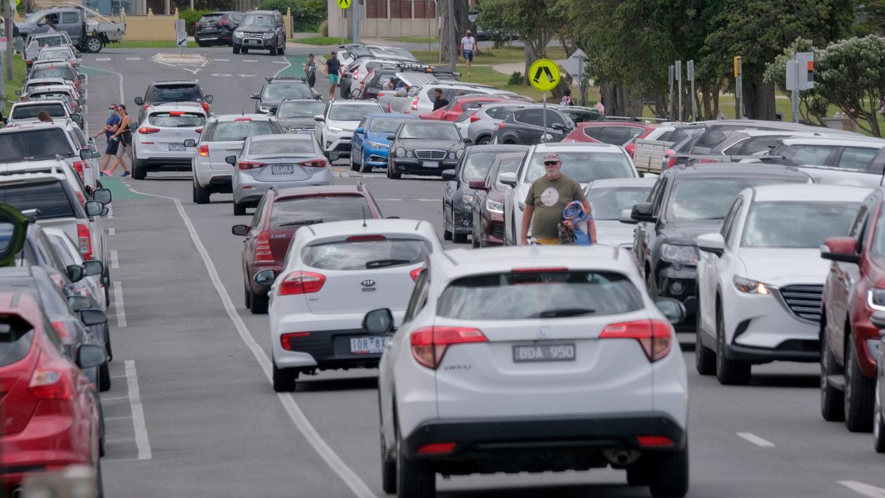 Packed Bellarine beaches as Melburnians flock back to the coast Torquay main beach traffic Picture: Mark Wilson