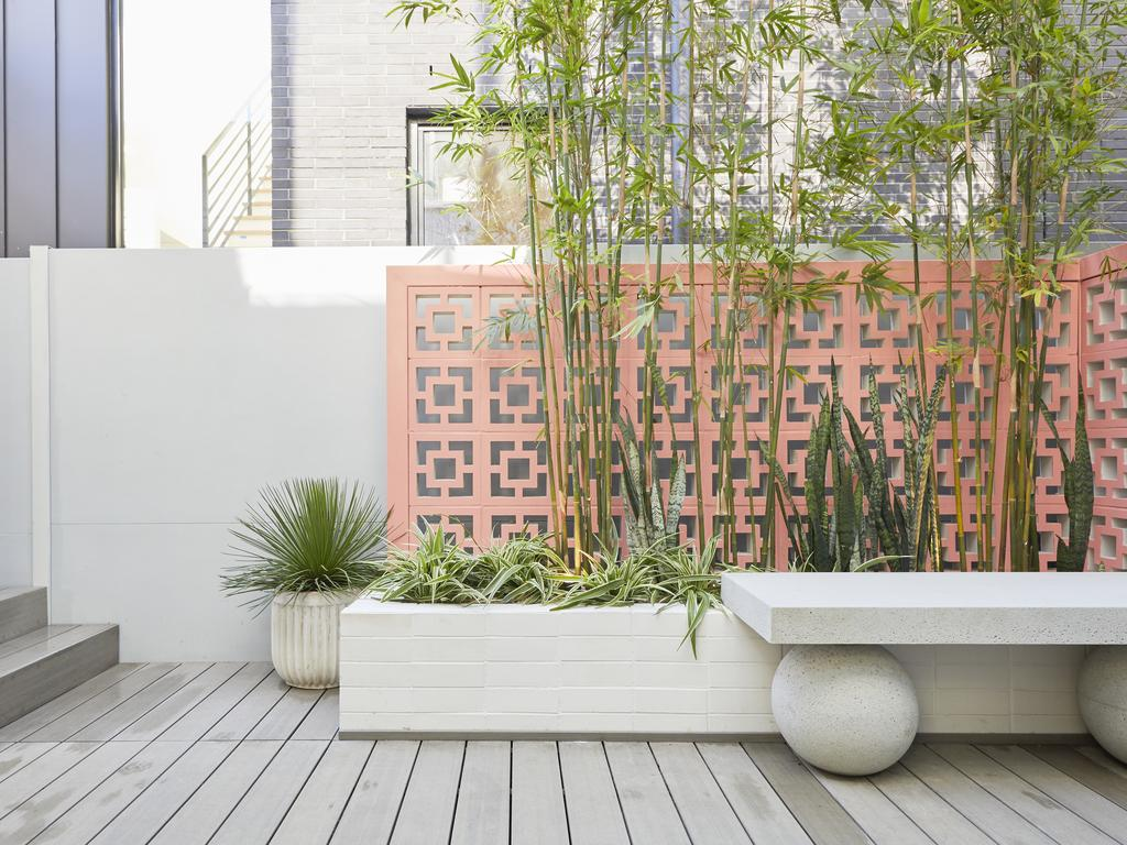 Jimmy and Tam's courtyard had a coral coloured feature wall and bamboo which will provide an excellent privacy screen.
