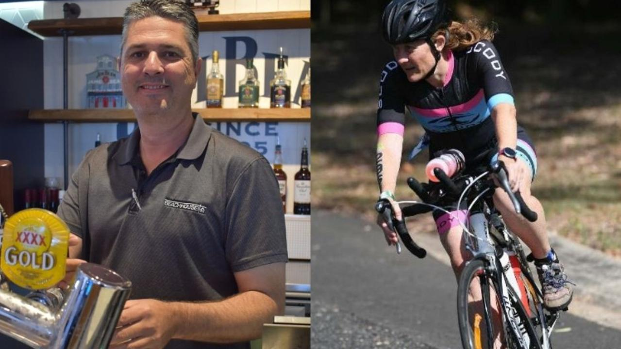 HERVEY BAY 100: (L) Manager of the Beach House Hotel Paul Robins. Photo: Stuart Fast (R) Competitor Janelle Harding during the bike race in 2019. Photo: File/ Cody Fox