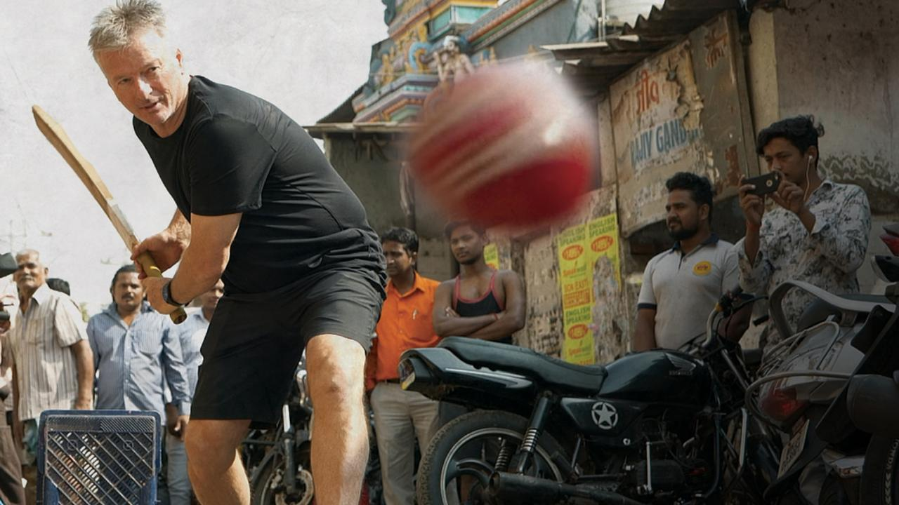 Steve Waugh plays a street game while making Capturing Cricket: Steve Waugh in India