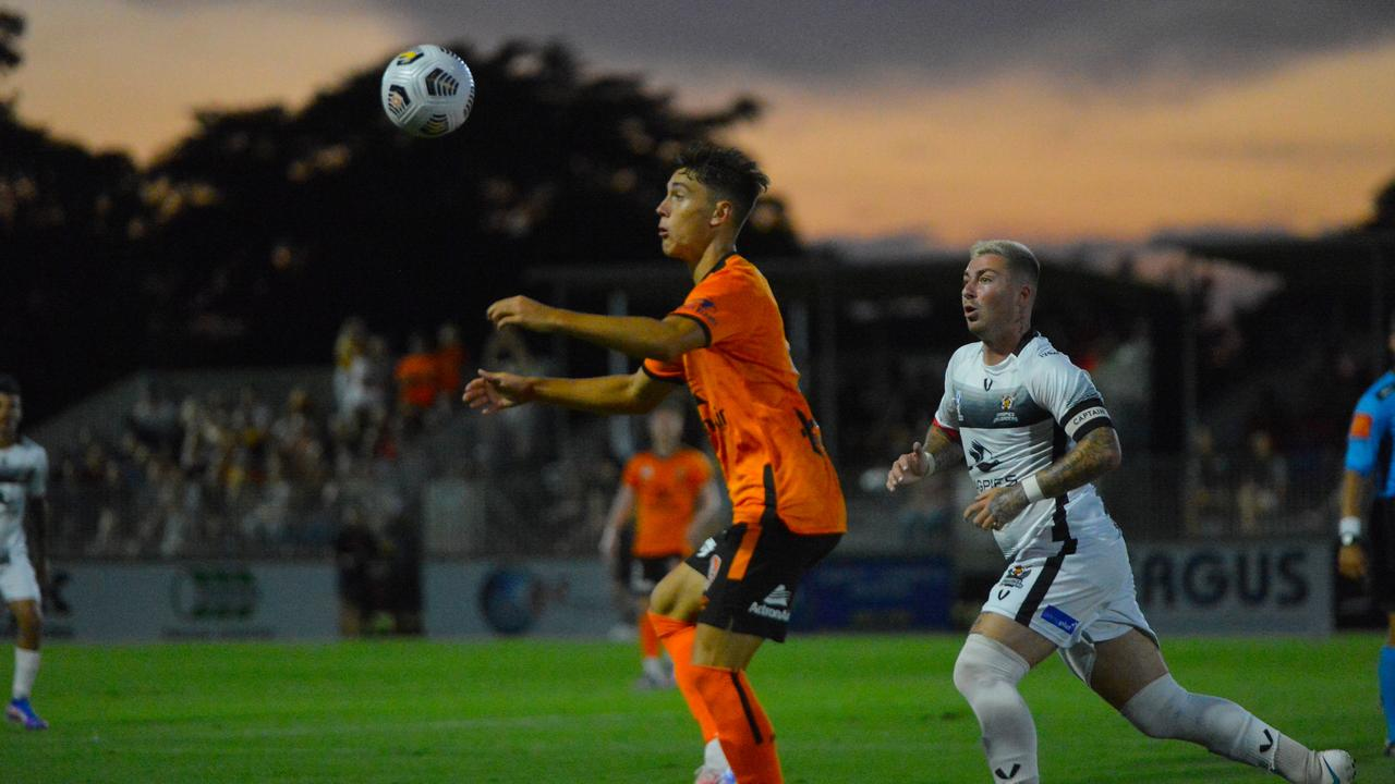 Brisbane Roar versus Magpies Crusaders United pre-season friendly at Sologinkin Oval, Mackay, Saturday November 14 2020. Photo: Callum Dick