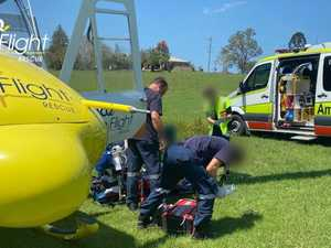 Man flown to hospital after car swerves to avoid roo