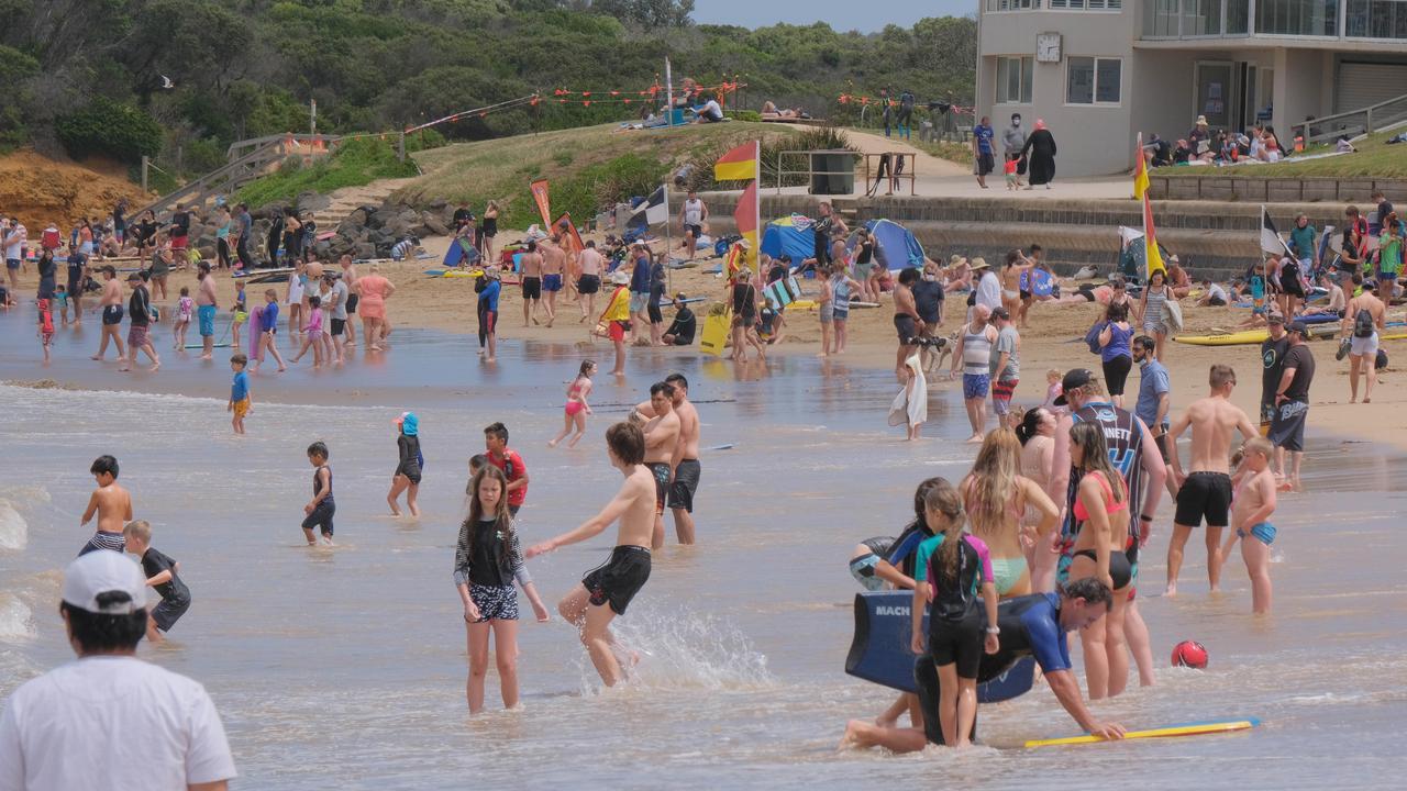 Torquay surf beach crowds. Picture: Mark Wilson