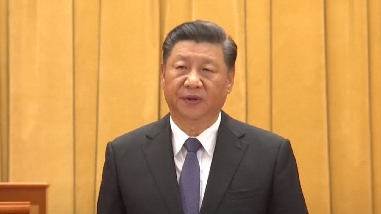 China's president Xi Jinping in a video titled 'War to Resist U.S. Aggression and Aid Korea Safeguards Asian, World Peace: Xi'.