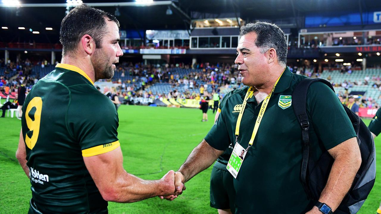 Cameron Smith and Mal Meninga have spent a lot of time together in rep camps. Picture: Justin Kennedy