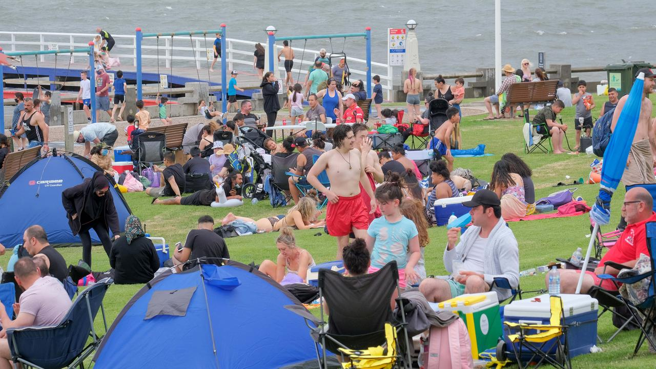 Packed Bellarine beaches as Melburnians flock back to the coast crowds at Eastern beach Picture: Mark Wilson